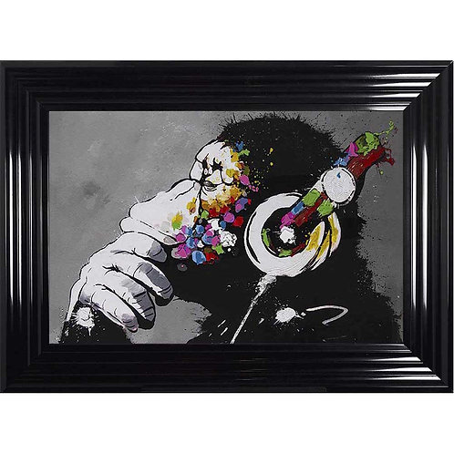 Monkey with Headphones Framed Liquid Wall Art