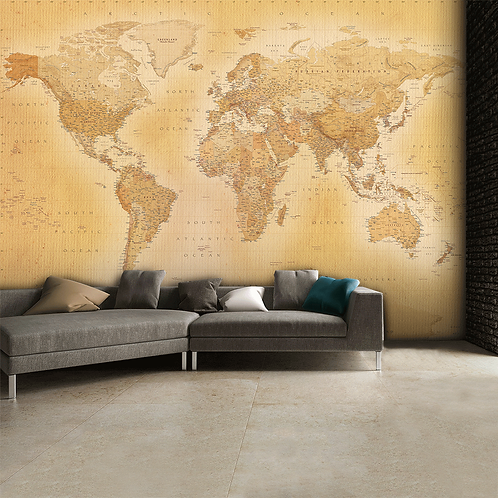 Vintage Old Map Feature 4 Piece Wall Mural