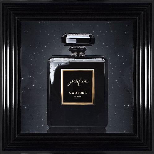 Parfum Black Framed Artwork with Swarovski Crystals  - 55x55cm