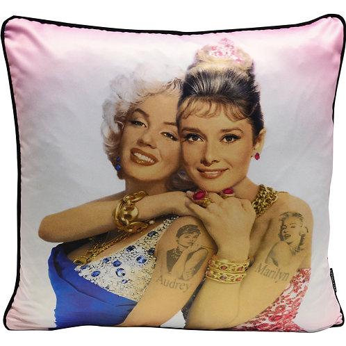 Dirty Hans Audrey Hepburn Marilyn Munroe Feather Filled Cushion