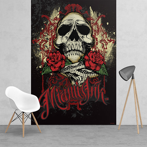 Miami Ink Tattoo Skull Pink and White Feature 2 Piece Wall Mural