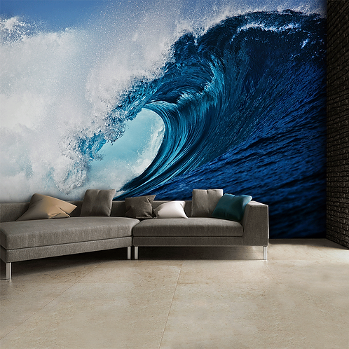 Blue Surf Wave Feature 4 Piece Wall Mural