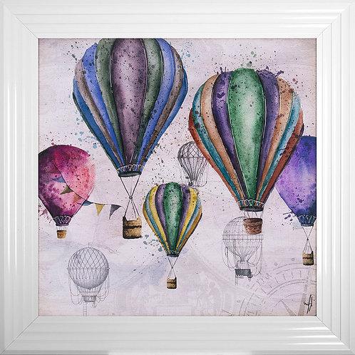 Balloons Liquid Resin Framed Artwork - 75x75cm