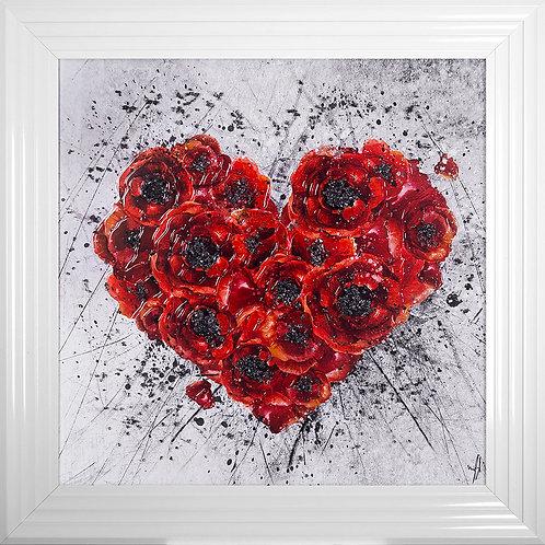 Poppy Heart Liquid Resin Framed Artwork - 75x75cm