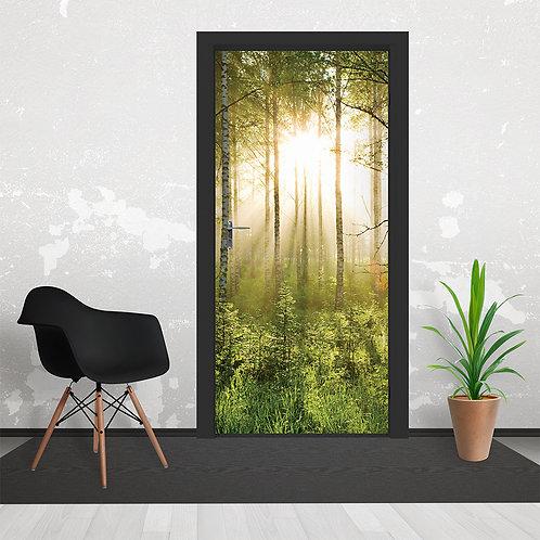 Summer Green Forest Sunshine Door Wallpaper Mural