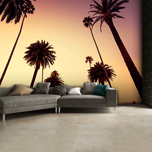 California Palm Trees Feature 4 Piece Wall Mural