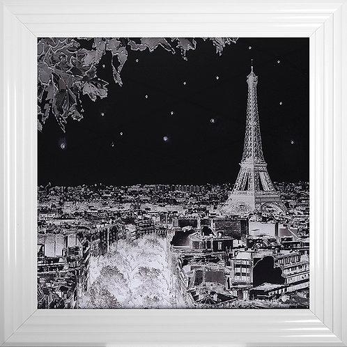 Black and White Paris Scene Framed Liquid Resin Artwork - 75x75cm