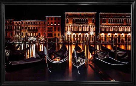 Venice Night Scene Framed Liquid Wall Art