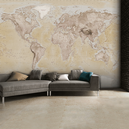 World Map Feature 4 Piece Wall Mural