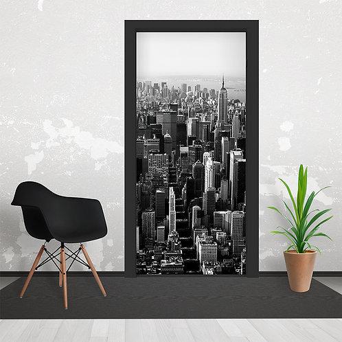 Black & White Empire State, New York Skyline  Door Wallpaper Mural