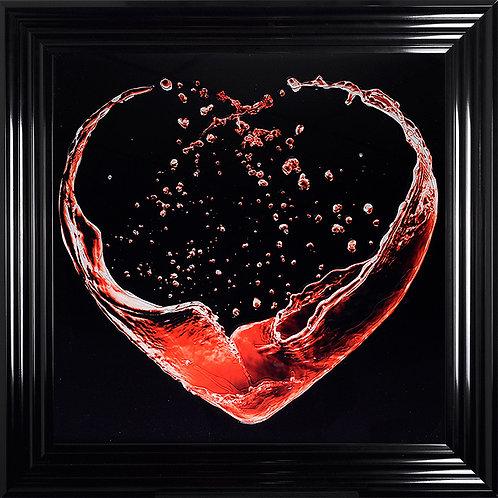 Heart Splash with Black Background Liquid Resin Artwork - 75x75cm