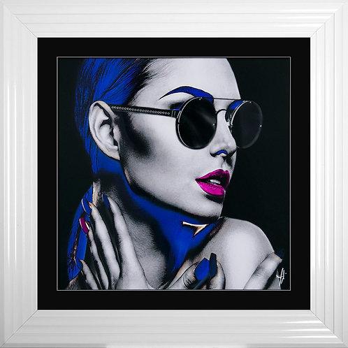 Neon Girl 2 Framed Liquid Resin Artwork - 75x75cm