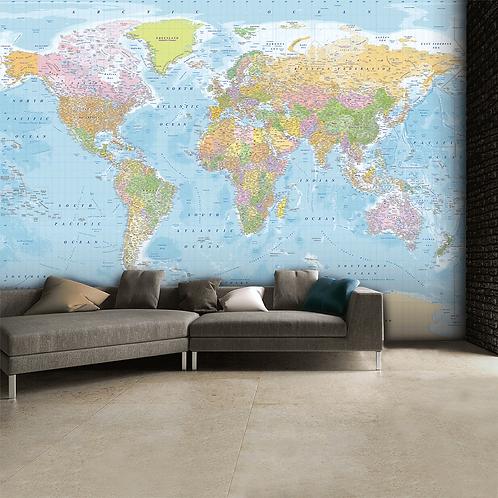 Blue World Map Feature 4 Piece Wall Mural
