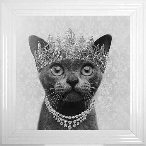 Burmese Cat Crown Framed Liquid Artwork with Swarovski Crystals - 75x75cm