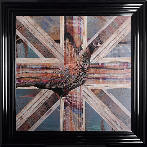 Pheasant Shabby Chic Style Framed Artwork - 75x75cm
