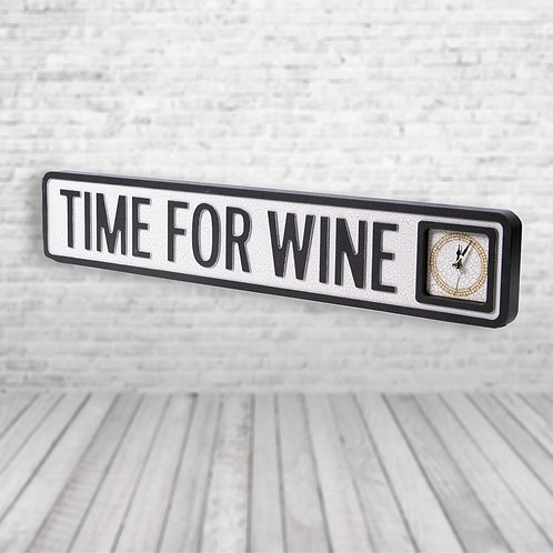 Time for Wine Vintage Clock Street Sign