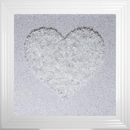 Heart White Cluster Framed Liquid Resin Artwork - 75x75cm