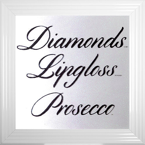 Diamonds Lipgloss Prosecco Framed Glitter Liquid Framed Artwork - 75x75cm