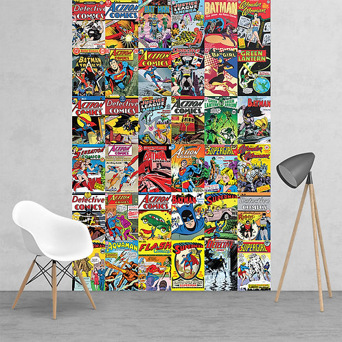 Vintage Classic DC Comic Superhero Collage Feature 2 Piece Wall Mural