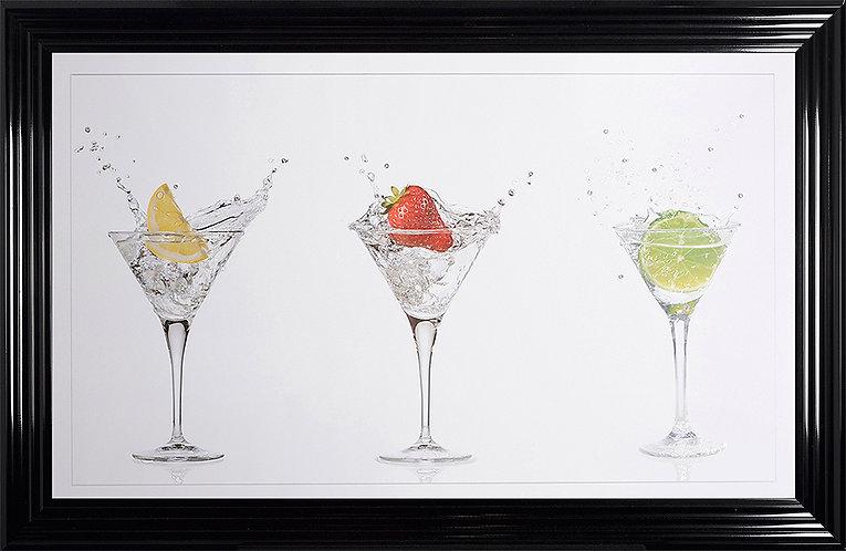 Cocktail Glasses Liquid Resin Framed Wall Art