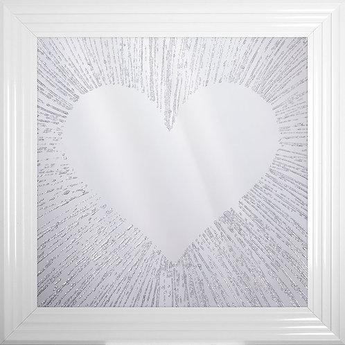 Heart Silhouette on Mirror Background Framed Artwork - 75x75cm