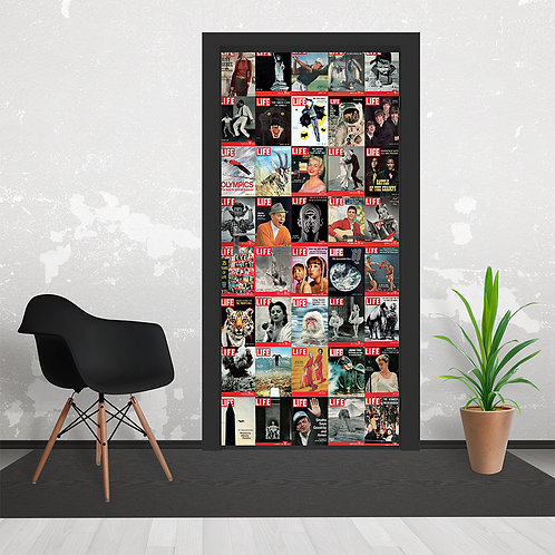 Iconic Life Magazine Cover Collage Door Wallpaper Mural