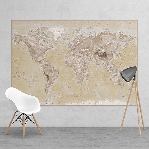 Neutral World Map Feature 2 Piece Wall Mural