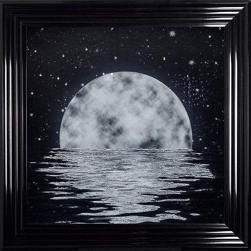 Moon Framed Liquid Resin Artwork with Swarovski Crystals - 75X75cm