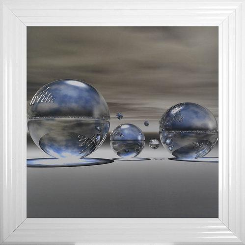 Blue Spheres Framed Liquid Artwork - 75x75cm