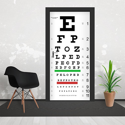 Eye Chart Door Wallpaper Mural
