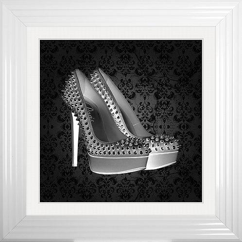 Paris Shoe Framed Liquid Resin Artwork - 75x75cm