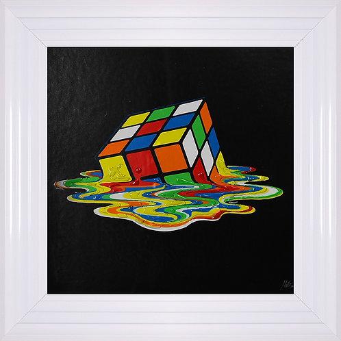 Rubiks Cube Framed Liquid Artwork