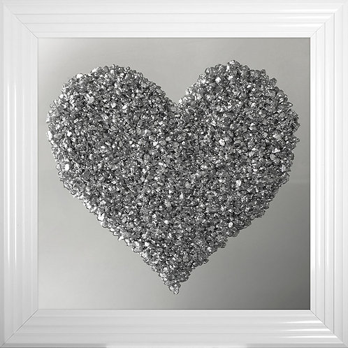 Silver Heart Cluster on Mirror Background Framed Artwork - 75x75cm