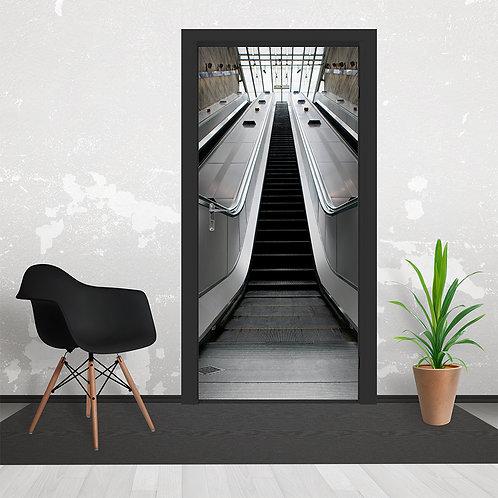 Black & White Escalator Door Wallpaper Mural