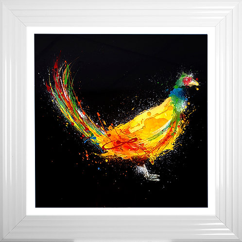 Colourful Pheasant Black Liquid Resin Artwork - 75x75cm