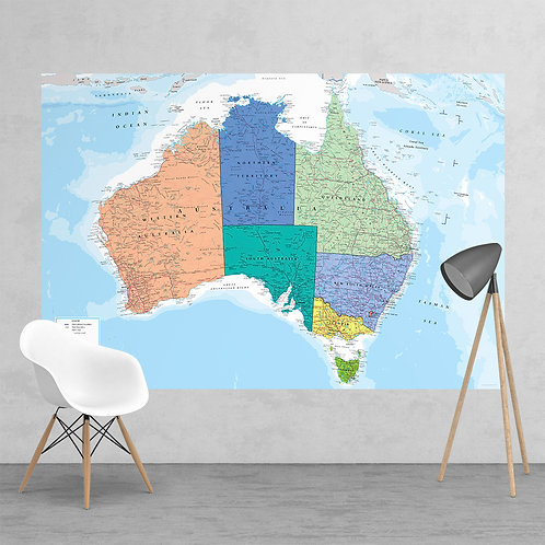 Feature Wall Map of Australia Feature 2 Piece Wall Mural