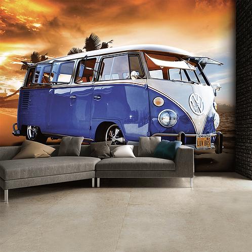 Blue Volkswagen Campervan Feature 4 Piece Wall Mural
