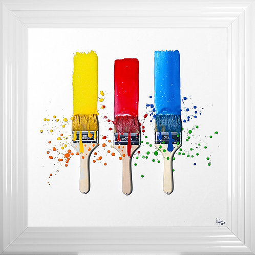 Brushes Framed Liquid Resin Artwork with real brushes - 75x75cm