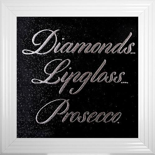 Diamonds Lipgloss Prosecco Framed Liquid Resin Artwork - 75x75cm