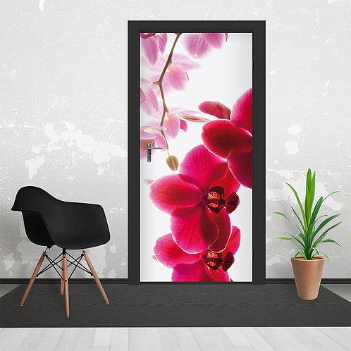 Pink Vivid Orchid Flower Door Wallpaper Mural