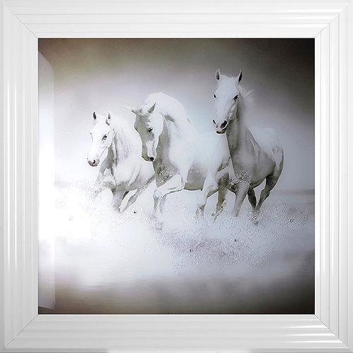 Galloping Horses Spartacus, Crixus & Dante Framed Artwork - 75x75cm