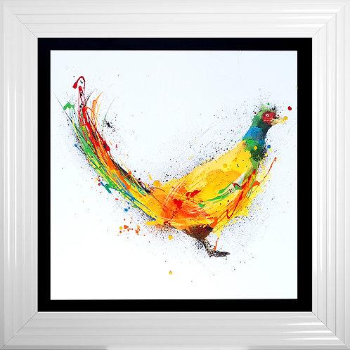 Colourful Pheasant White Liquid Resin Artwork - 75x75cm