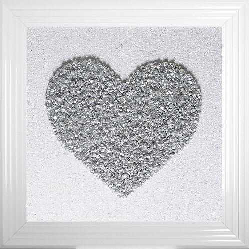 Heart Silver Cluster Framed Liquid Resin Artwork - 75x75cm