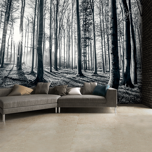 Black & White Nature Forest Feature 4 Piece Wall Mural