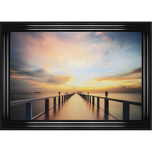 Sunset Jetty Framed Liquid Wall Art