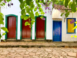 Coloful doors from colonial houses in th