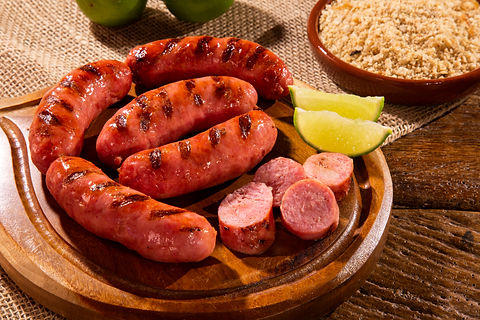 Grilled sausage. Grilled Sausage on wood