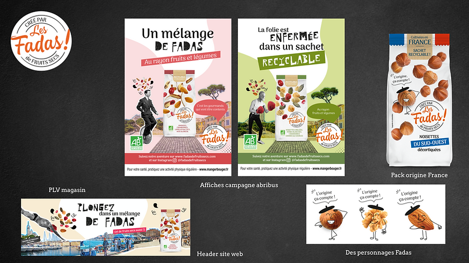 campagne Abribus / packaging / banniere Les fadas de Fruits Secs