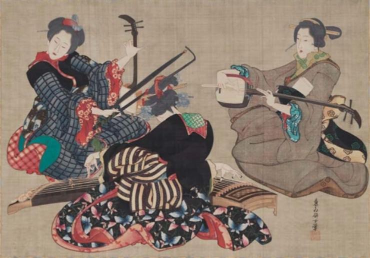 Three Women Playing Musical Instruments Wikicommons