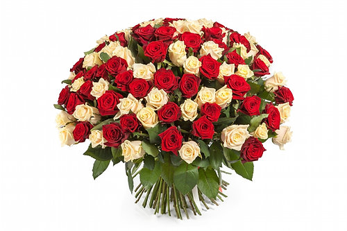 101 red white roses bouquet - Red Garden Rose Bouquet